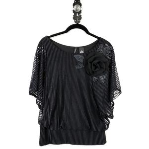 Black Rose Flower Sheer Striped Dolman Top Small